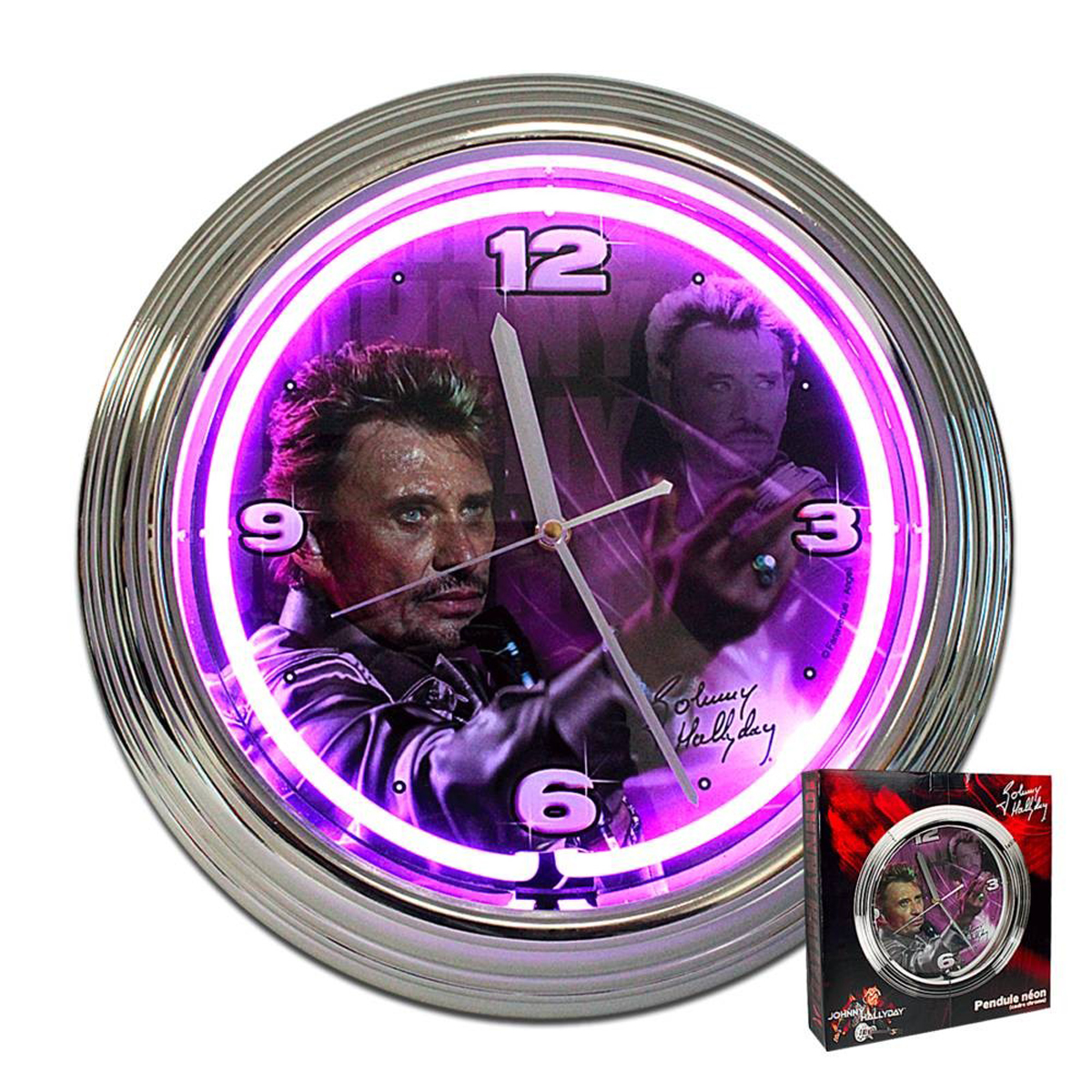 Horloge Murale Néon \'Johnny Hallyday\' violet - 37x7 cm - [P9989]