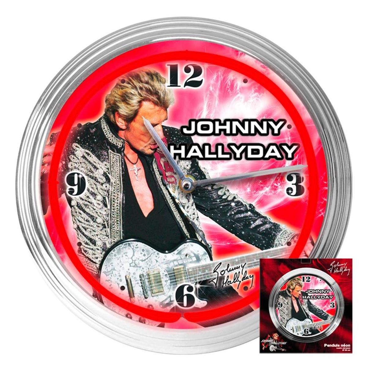Horloge Murale Néon \'Johnny Hallyday\' rouge argenté  - 37x7 cm - [P9991]