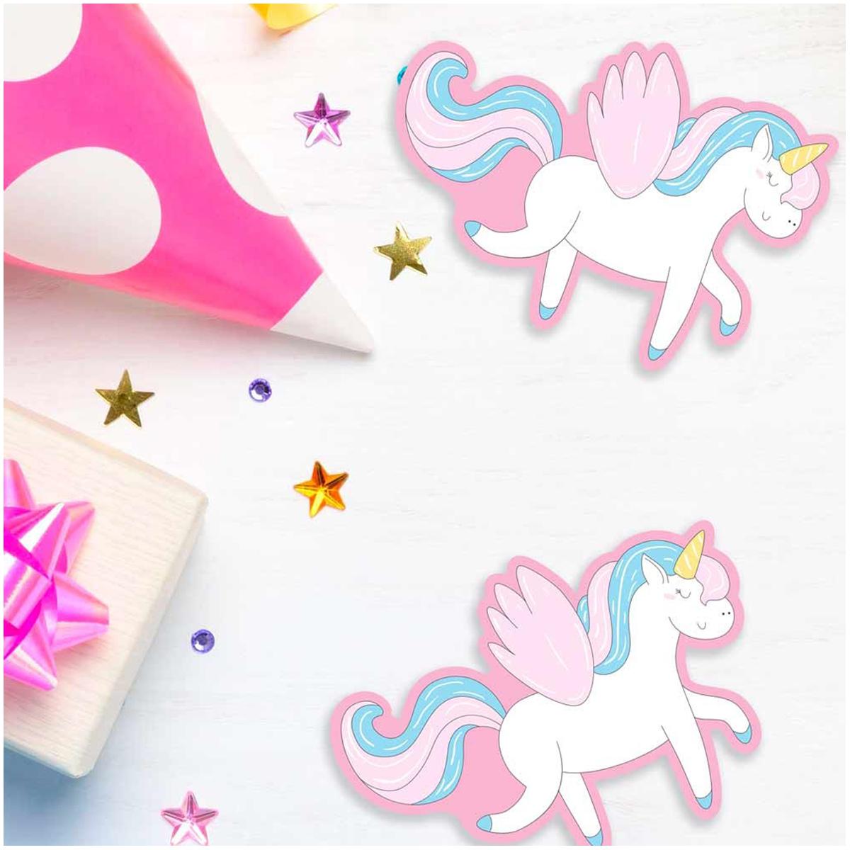 20 confettis géants \'Licorne My Unicorn\' rose bleu - 11x8 cm - [Q5989]