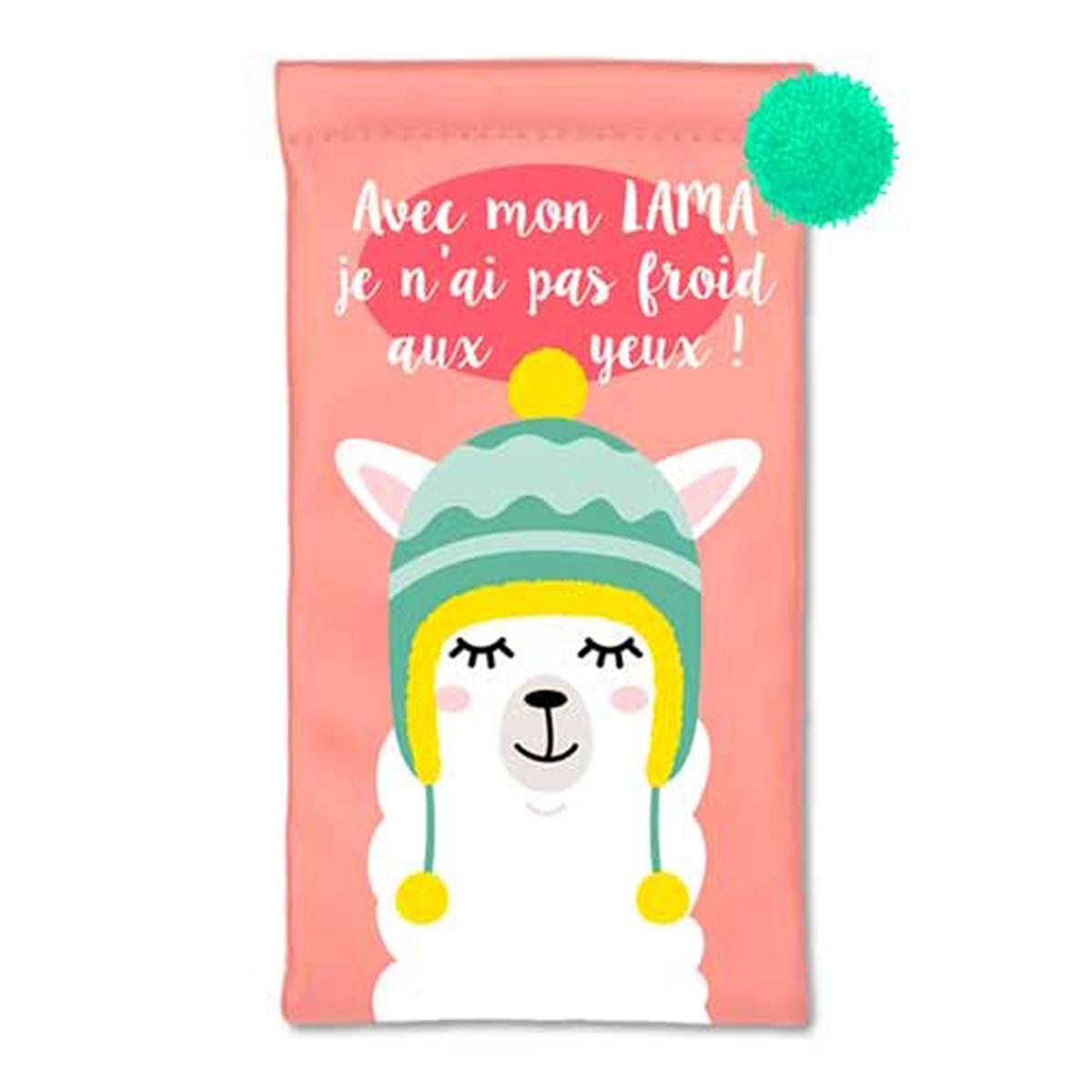 Etui à lunettes souple \'Lama Mania\' rose (Avec mon Lama je n\'ai pas froid aux yeux !) - 18x10 cm - [Q5992]