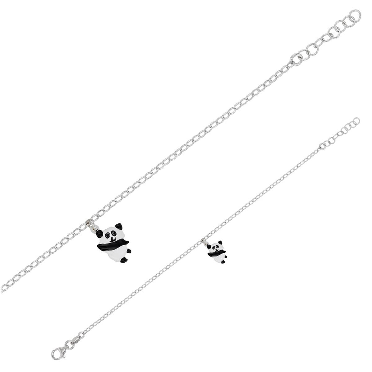 Bracelet Enfant \'Panda\' blanc noir S&B - 10x9 mm - [Q6014]