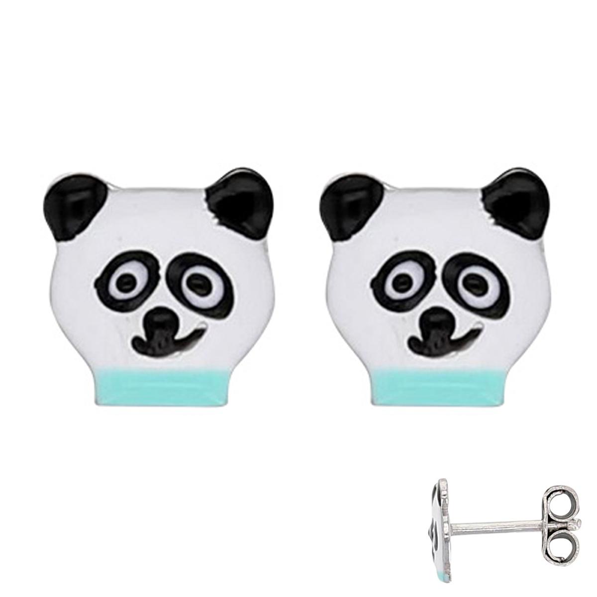 Boucles Argent \'Panda\' blanc vert - 7x7 mm - [Q6015]