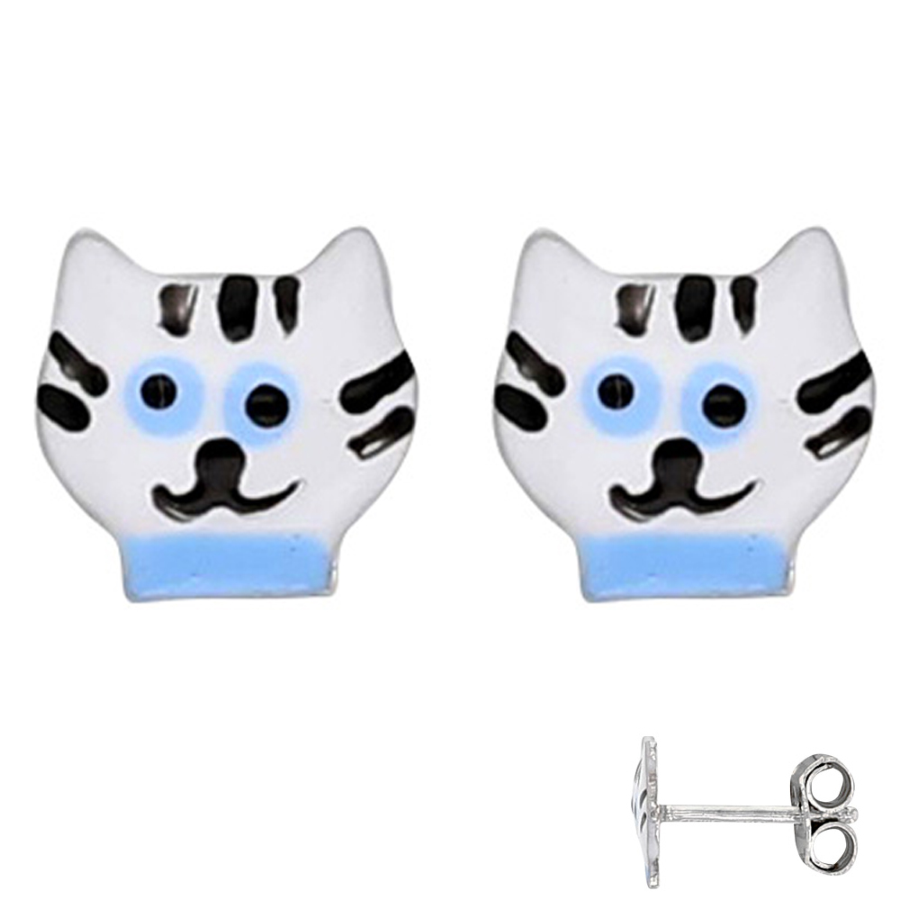 Boucles Argent \'Chats\' blanc bleu - 7x7 mm - [Q6016]