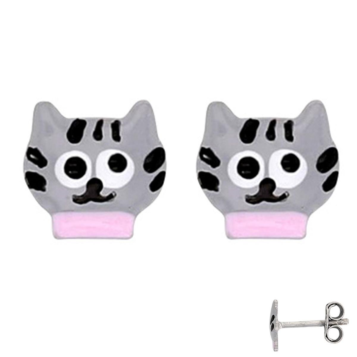 Boucles Argent \'Chats\' gris rose - 7x7 mm - [Q6017]