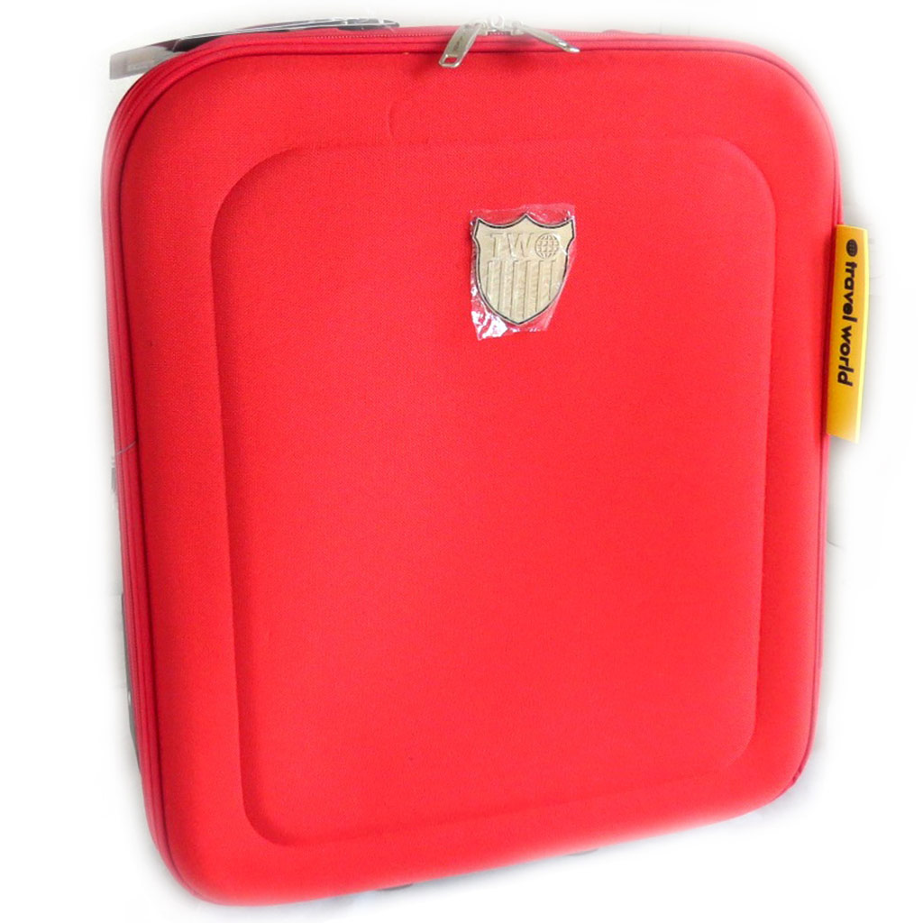 Valise trolley toile \'Travel World\' rouge (50 cm)  - [L9898]