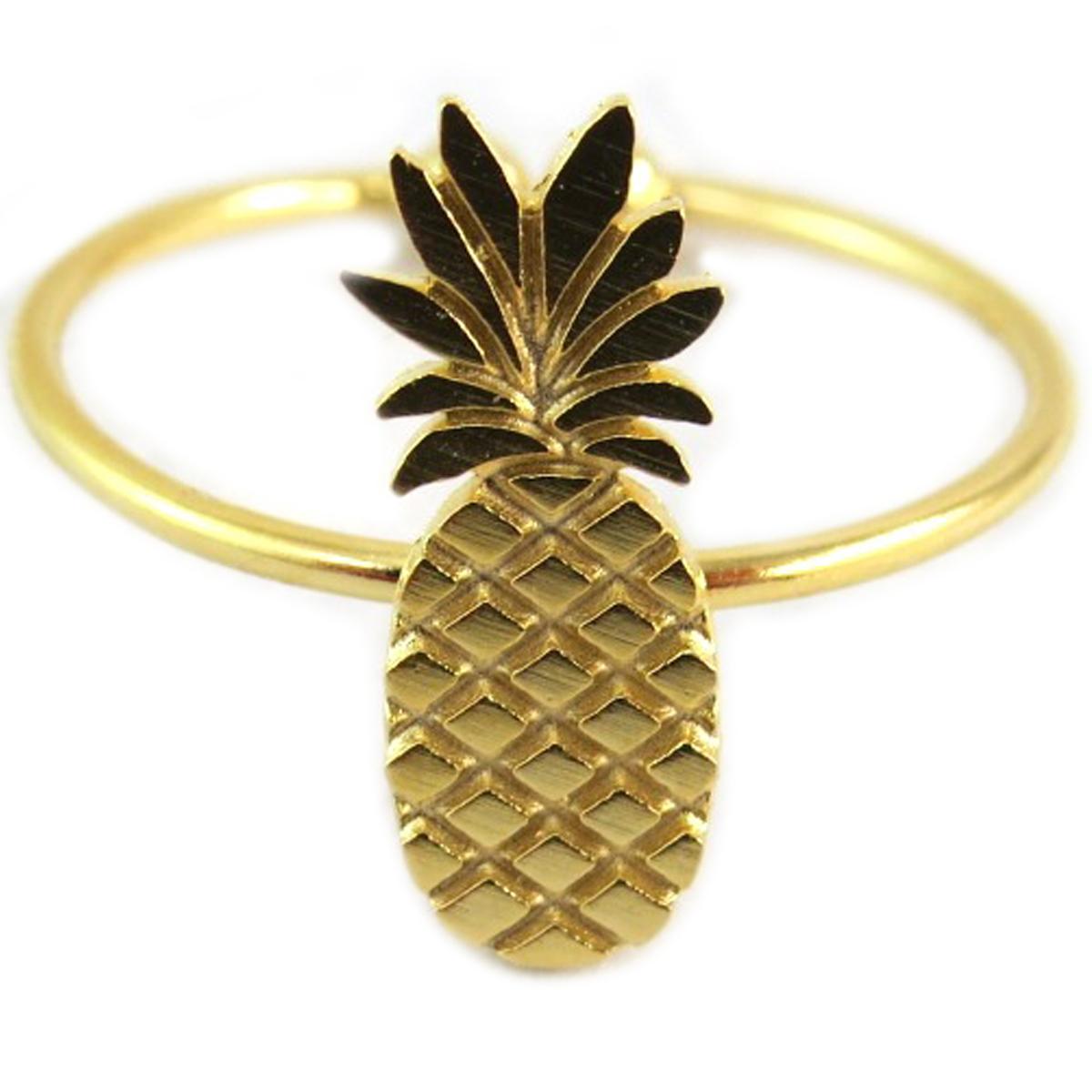 Bague artisanale \'Ananas\' doré - 14x5 mm - [Q6219]