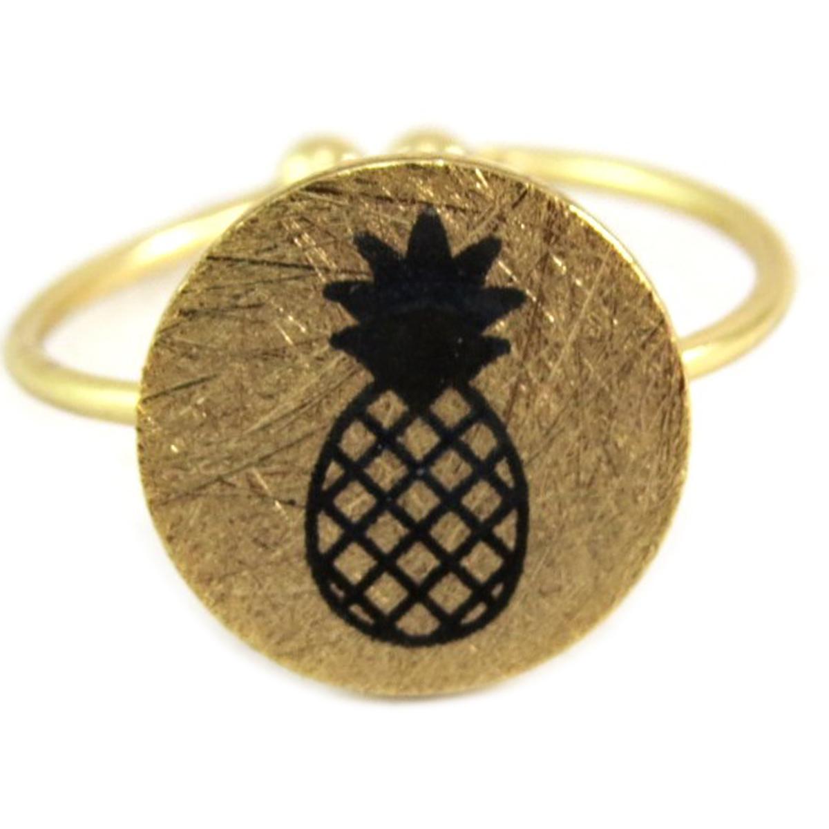 Bague artisanale \'Ananas\' doré - 11x11 mm - [Q6223]