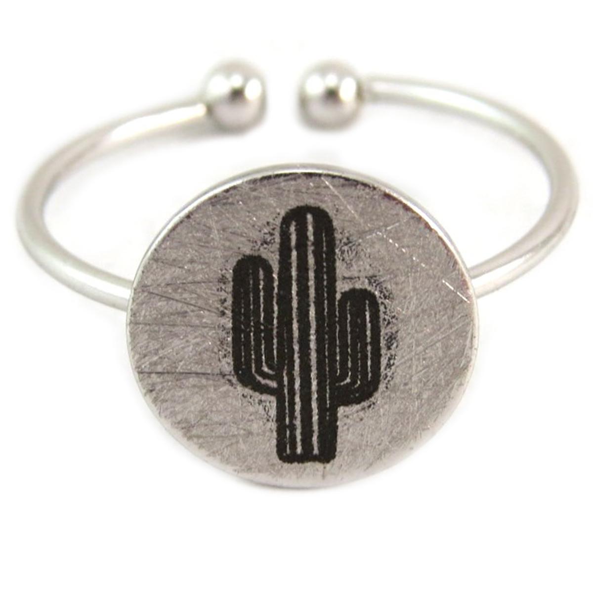 Bague artisanale \'Cactus\' argenté - 11x11 mm - [Q6227]