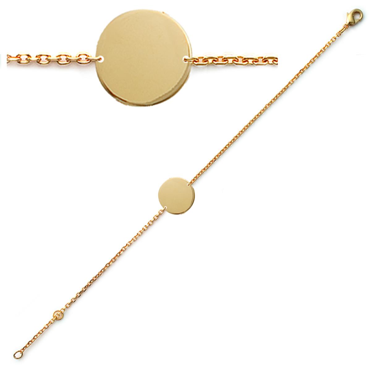 Bracelet plaqué or \'Identité\' doré - 13 mm - [Q6296]