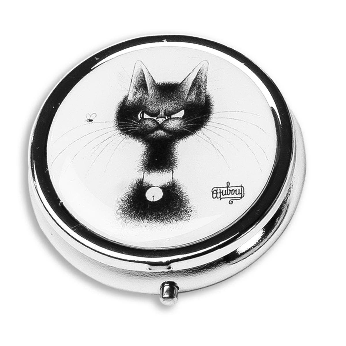 Boite à pilules \'Chats Dubout\' blanc noir  - diamètre 45 cm - [Q6316]