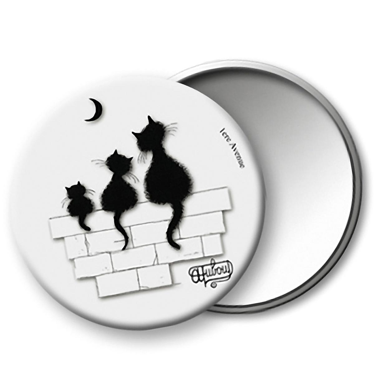Miroir de poche \'Chats Dubout\' blanc noir (Trio) - 75 mm - [Q6324]