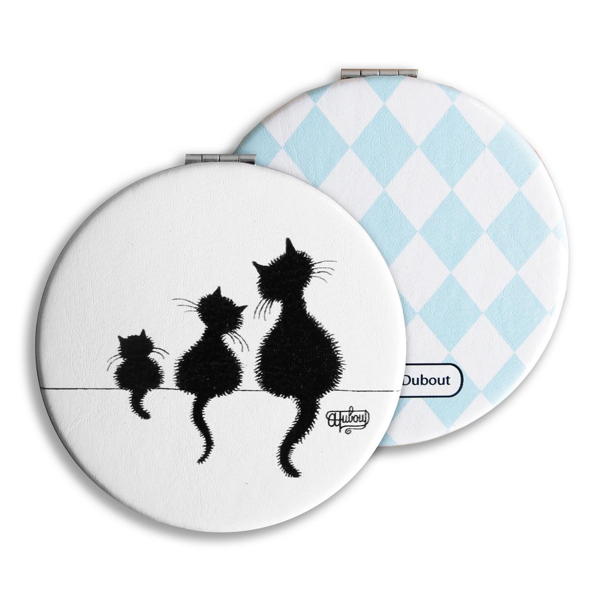 Miroir de poche double \'Chats Dubout\' blanc noir (sur le mur) - 65 mm - [Q6326]