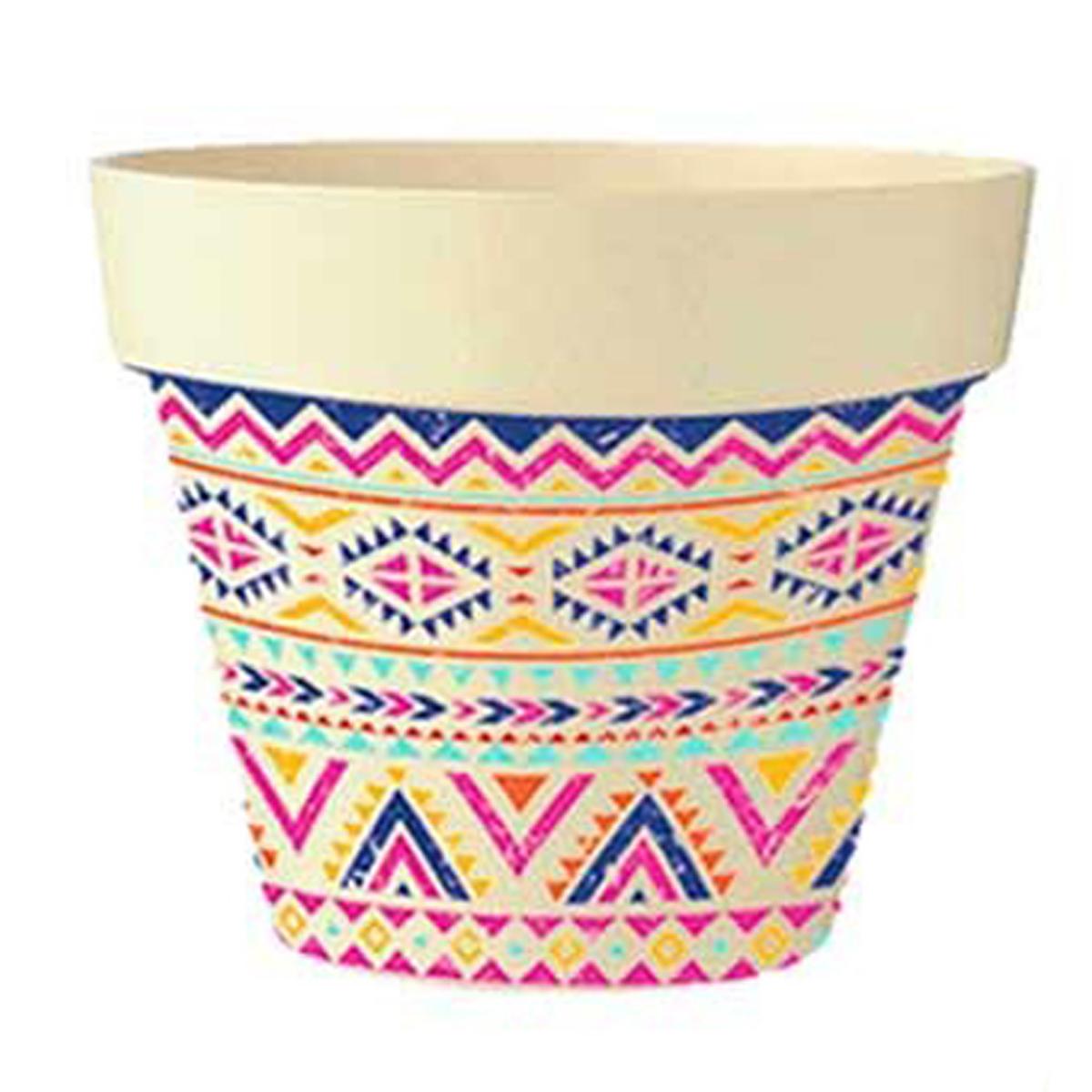 Cache-pot bambou \'Boho\' rose multicolore -  105x95 cm - [Q6417]