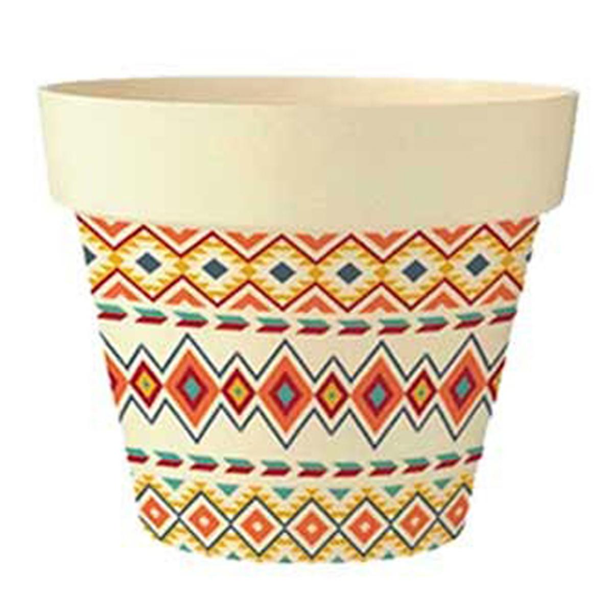 Cache-pot bambou \'Boho\' orange multicolore -  105x95 cm - [Q6418]