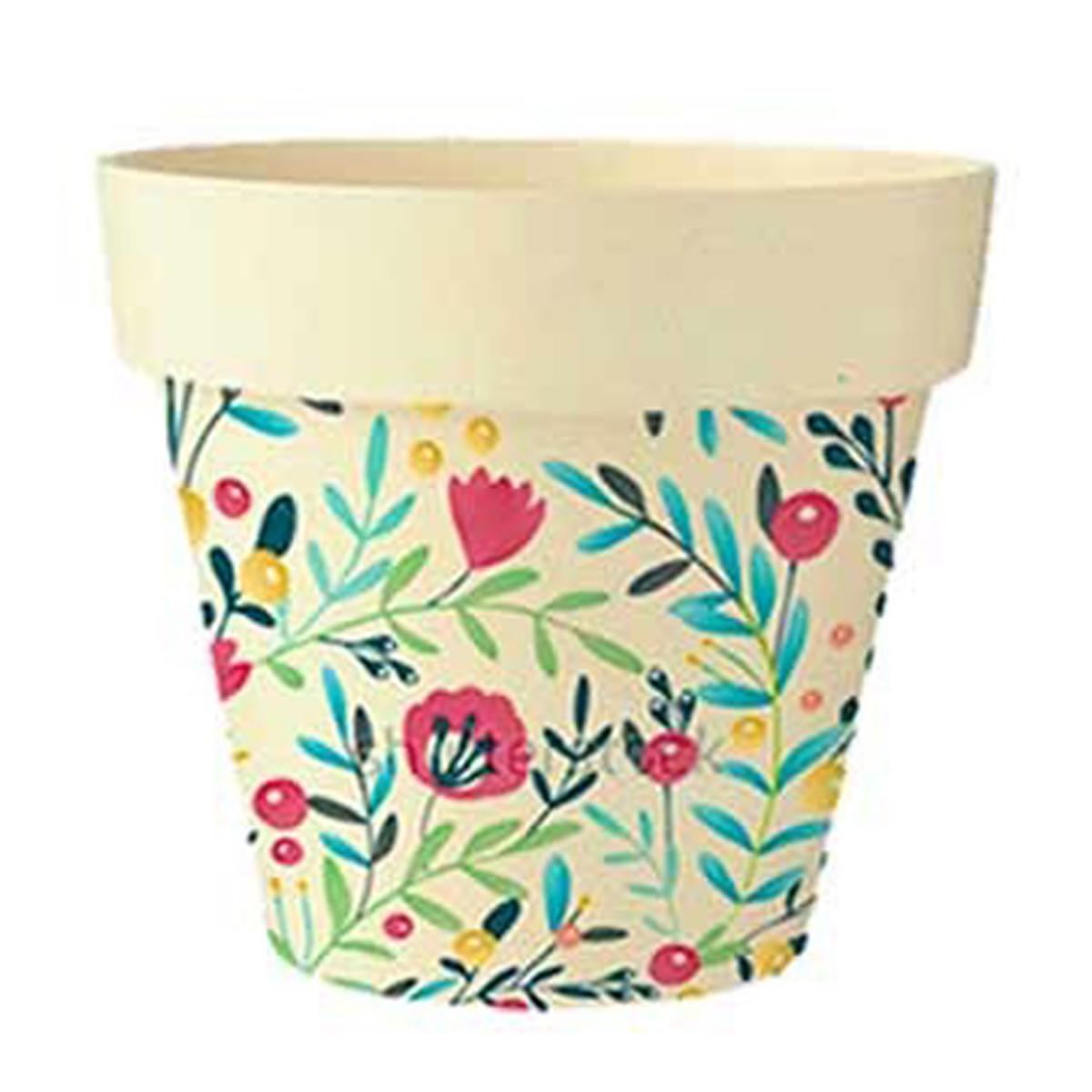 Cache-pot bambou \'Floral\' beige multicolore -  105x95 cm - [Q6426]