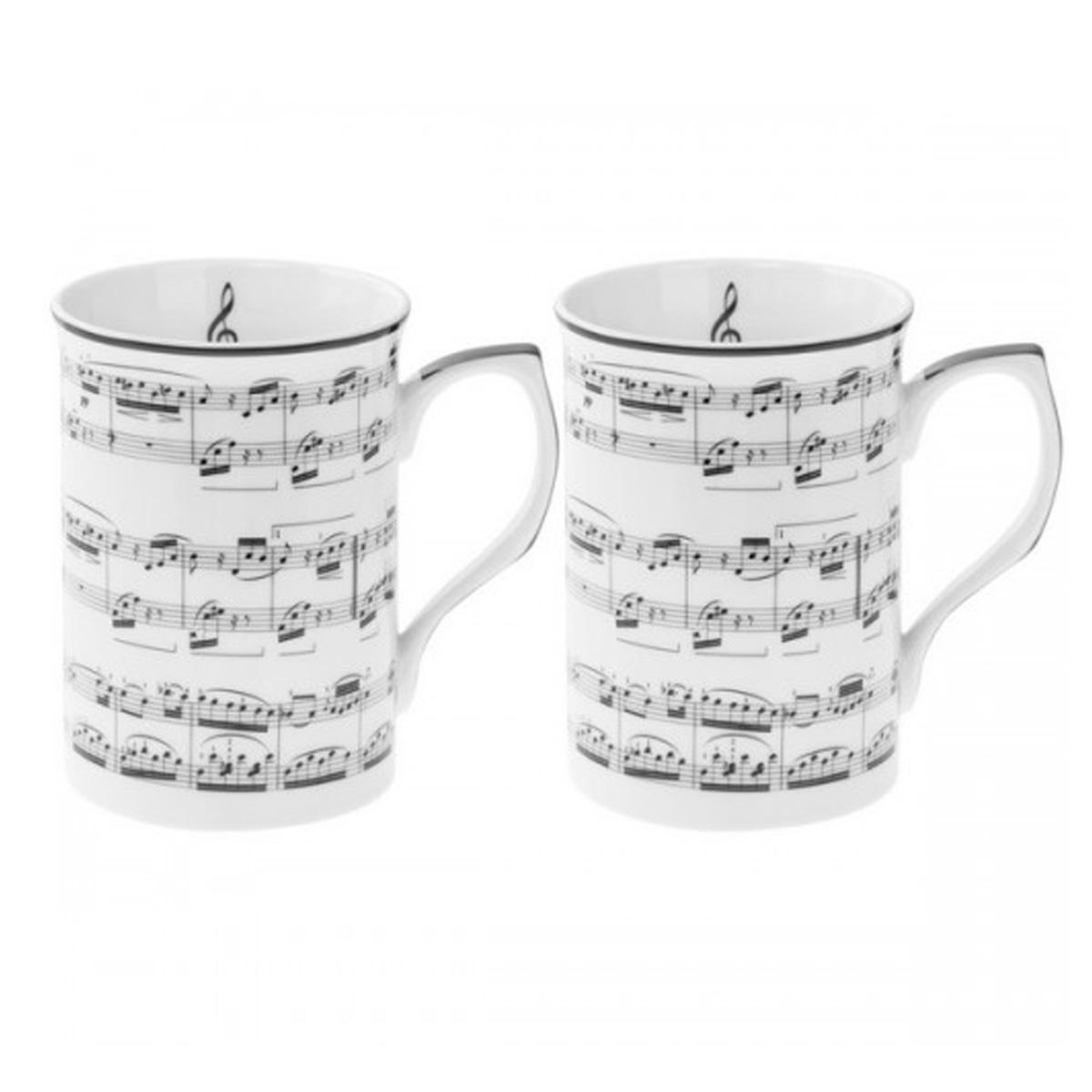 Coffret 2 mugs porcelaine \'Musique\' blanc noir - 10x75 cm - [Q6459]