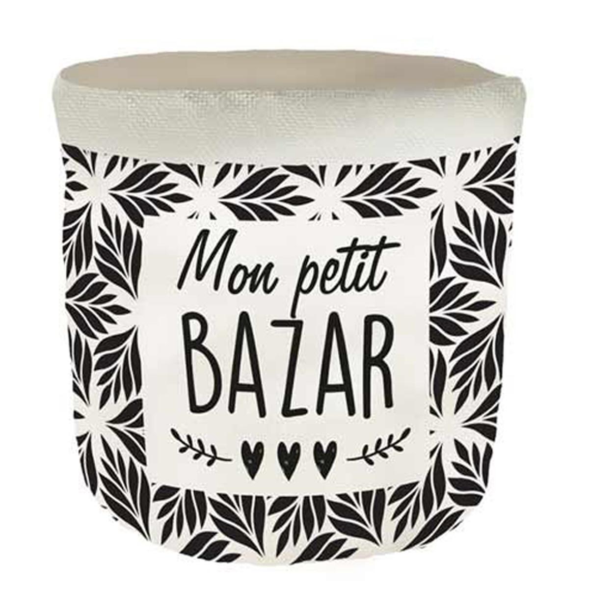 Corbeille de rangement lin \'Messages\' noir beige (mon petit Bazar) - 18x165 cm - [Q6567]