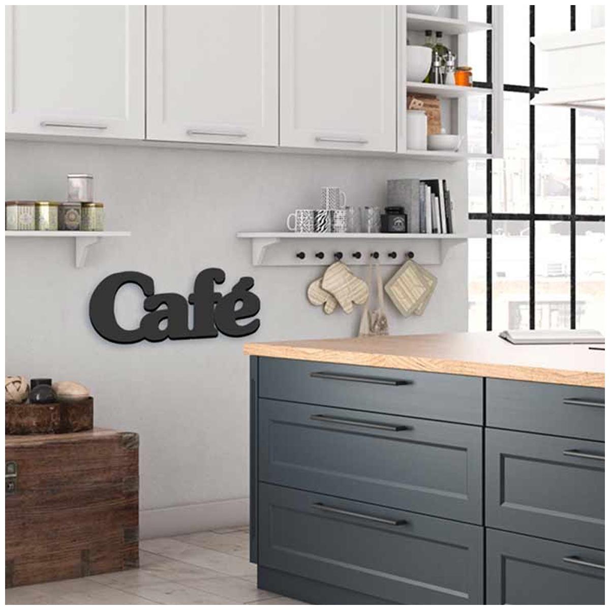 Mot Déco bois 3D \'Café\' noir - 30x135x15 cm - [Q6571]