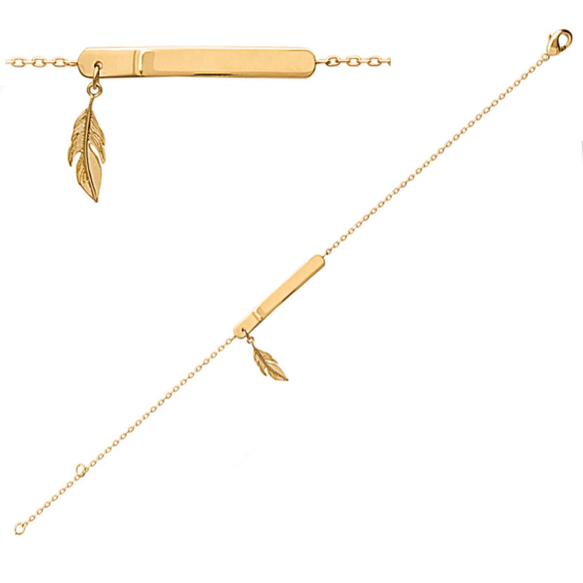 Bracelet plaqué or \'Identité\' doré - plaque 28x3 mm, plume 13x4 mm - [Q6671]