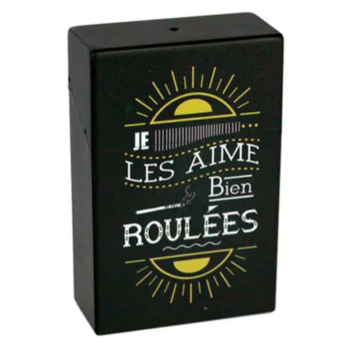 Etui à paquet de cigarettes \'Messages\' noir (Je les aime bien roulées) - 95x60x28 mm - [Q6719]