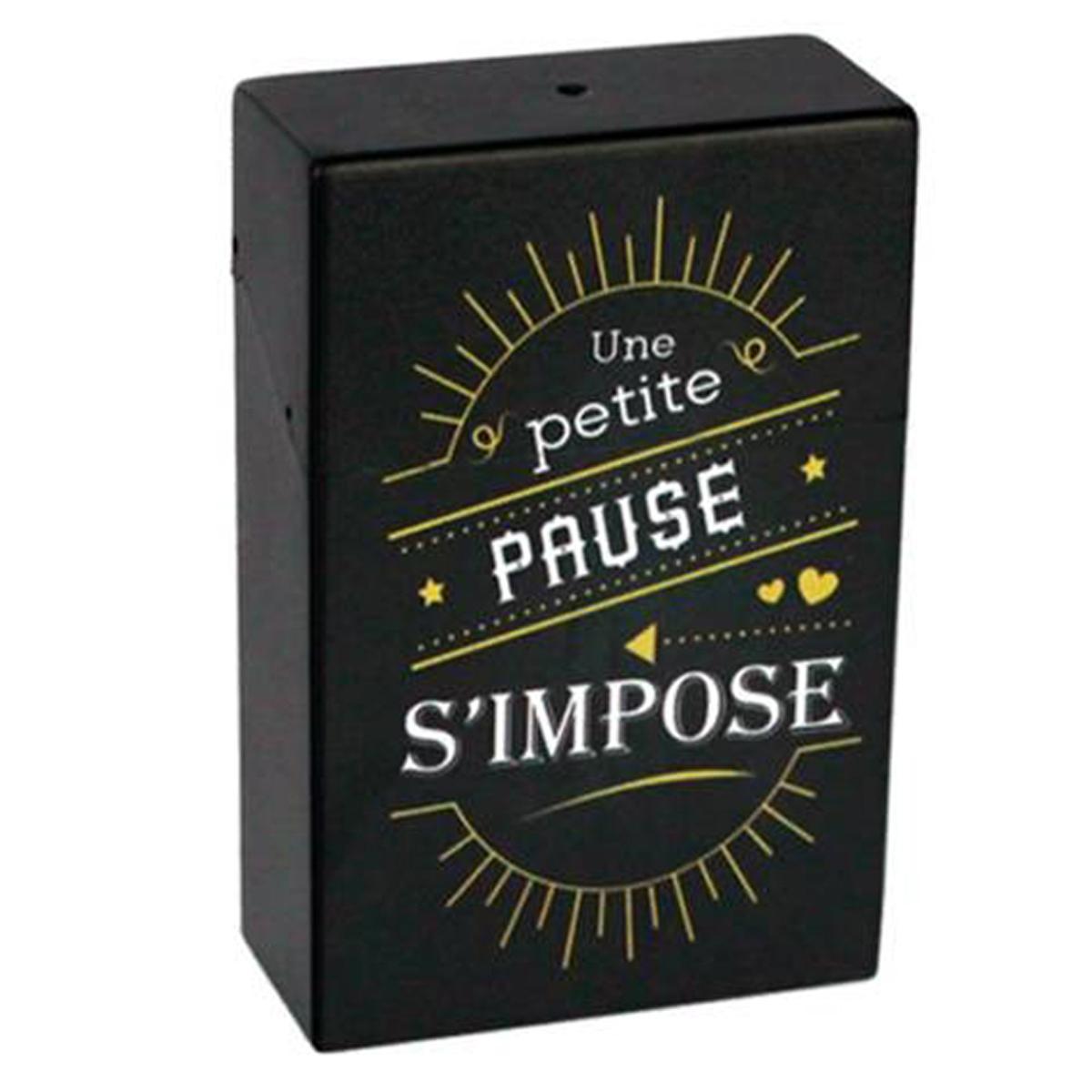 Etui à paquet de cigarettes \'Messages\' noir (Une petite pause s\'impose) - 95x60x28 mm - [Q6721]