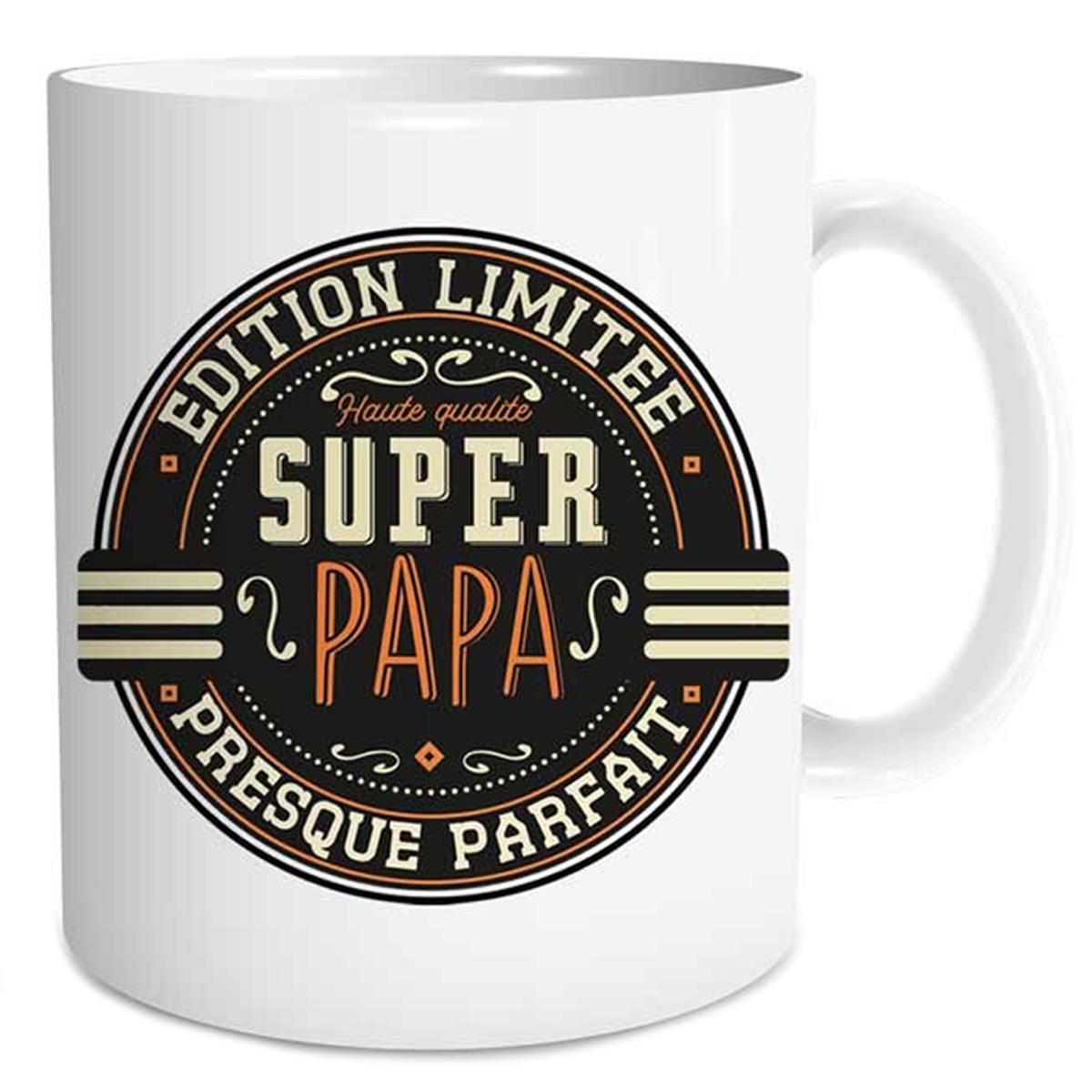 Mug tendresse \'Super Papa - Edition Limitée, Presque Parfait\' - 95x80 mm - [Q6729]