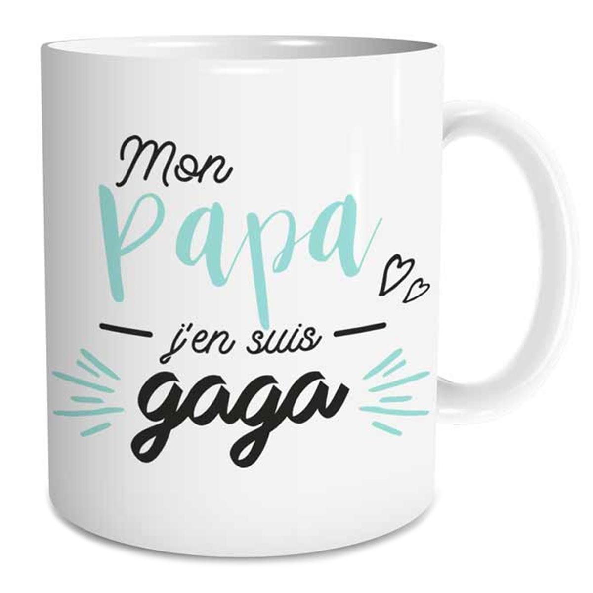 Mug tendresse \'Mon Papa j\'en suis Gaga\' - 95x80 mm - [Q6732]