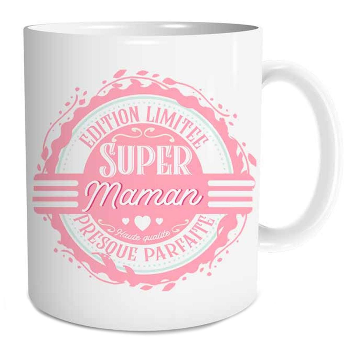 Mug tendresse \'Super Maman - Edition Limitée, Presque Parfaite\' - 95x80 mm - [Q6734]