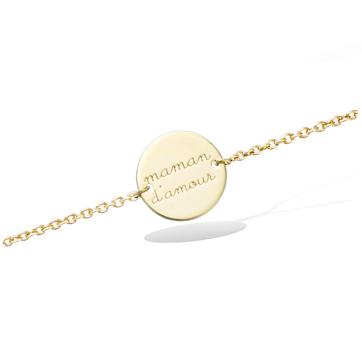 Bracelet Plaqué or \'Maman d\'Amour\' - 12 mm - [Q6822]