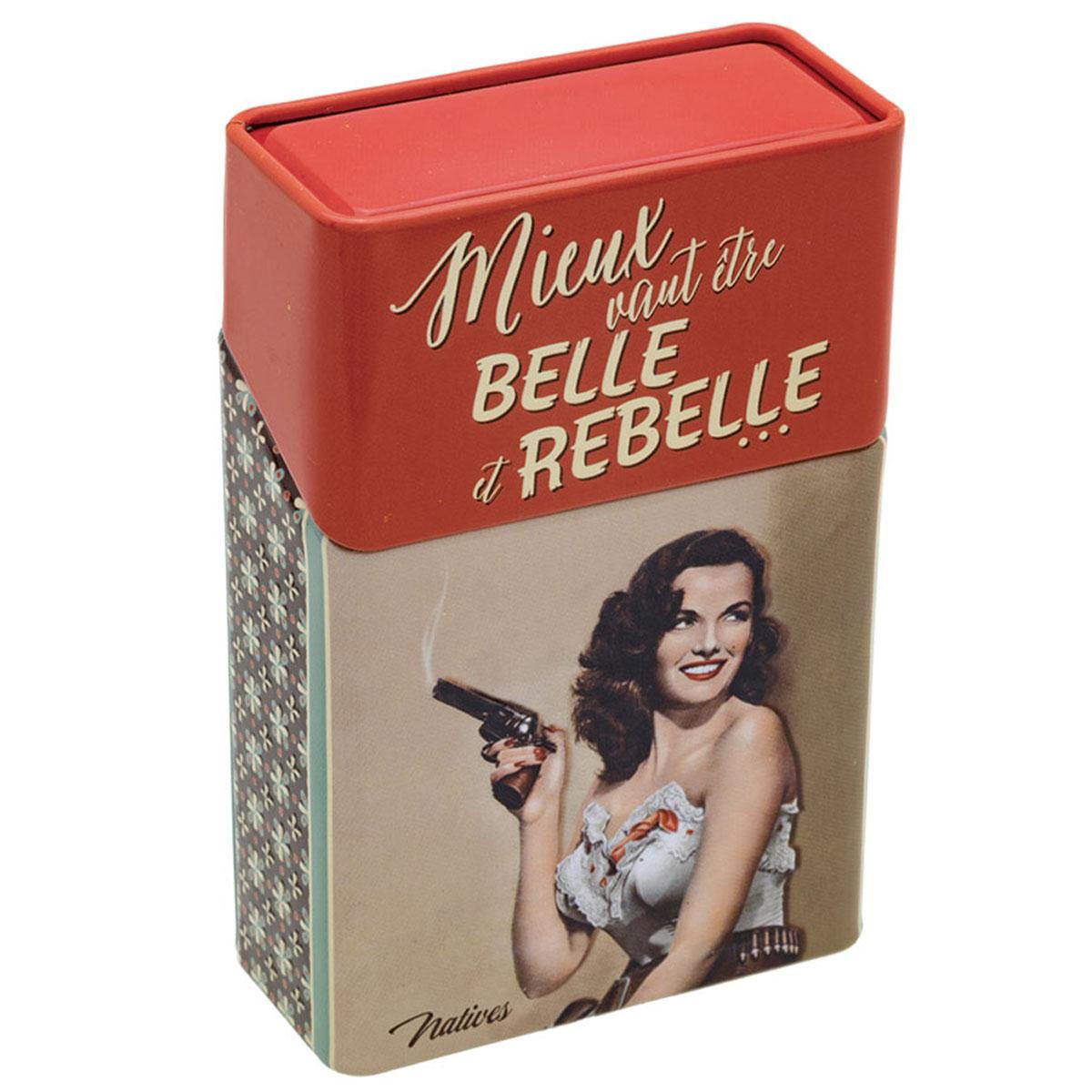 Etui à paquet de cigarettes \'French Vintage\' (Mieux vaut être Belle et Rebelle ) - 95x63x3 cm - [Q6967]