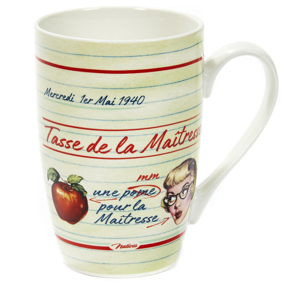 Grand mug porcelaine \'French Vintage\' (Tasse de ma Maîtresse) - 13x85 cm (46cl) - [Q6971]
