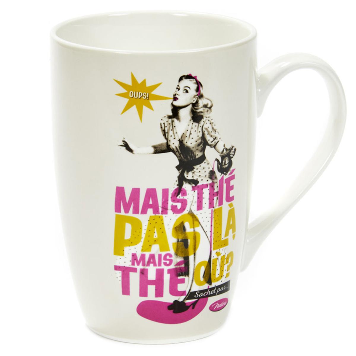 Grand mug porcelaine \'French Vintage\' (Mais thé pas là Mais thé où ? sachet pas ) - 13x85 cm (46cl) - [Q6972]