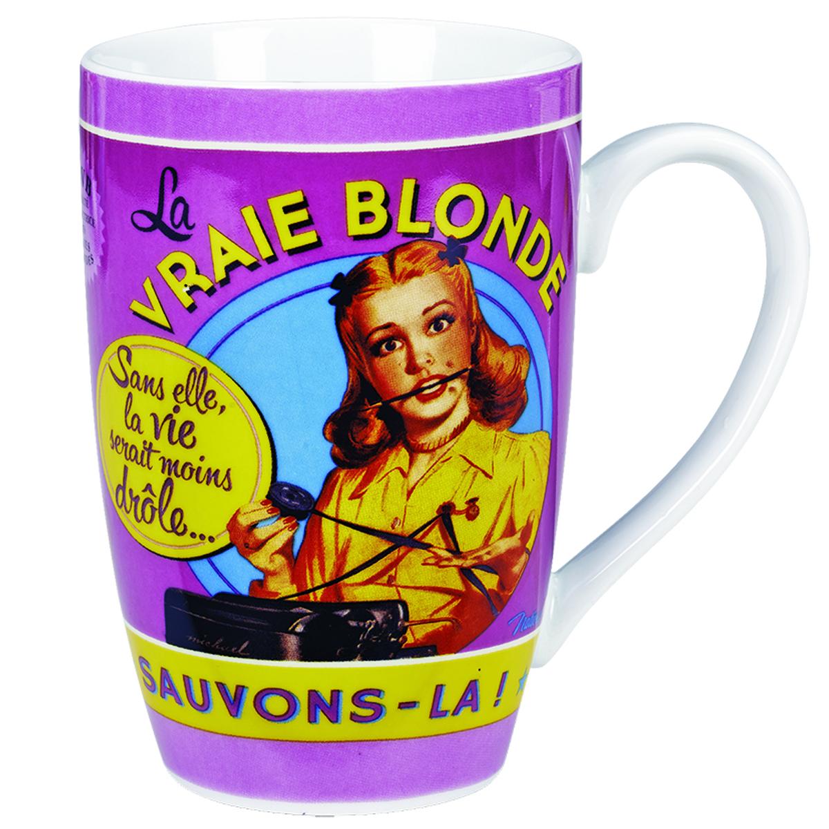 Grand mug porcelaine \'French Vintage\' (La Vraie Blonde ) - 13x85 cm (46cl) - [Q6973]