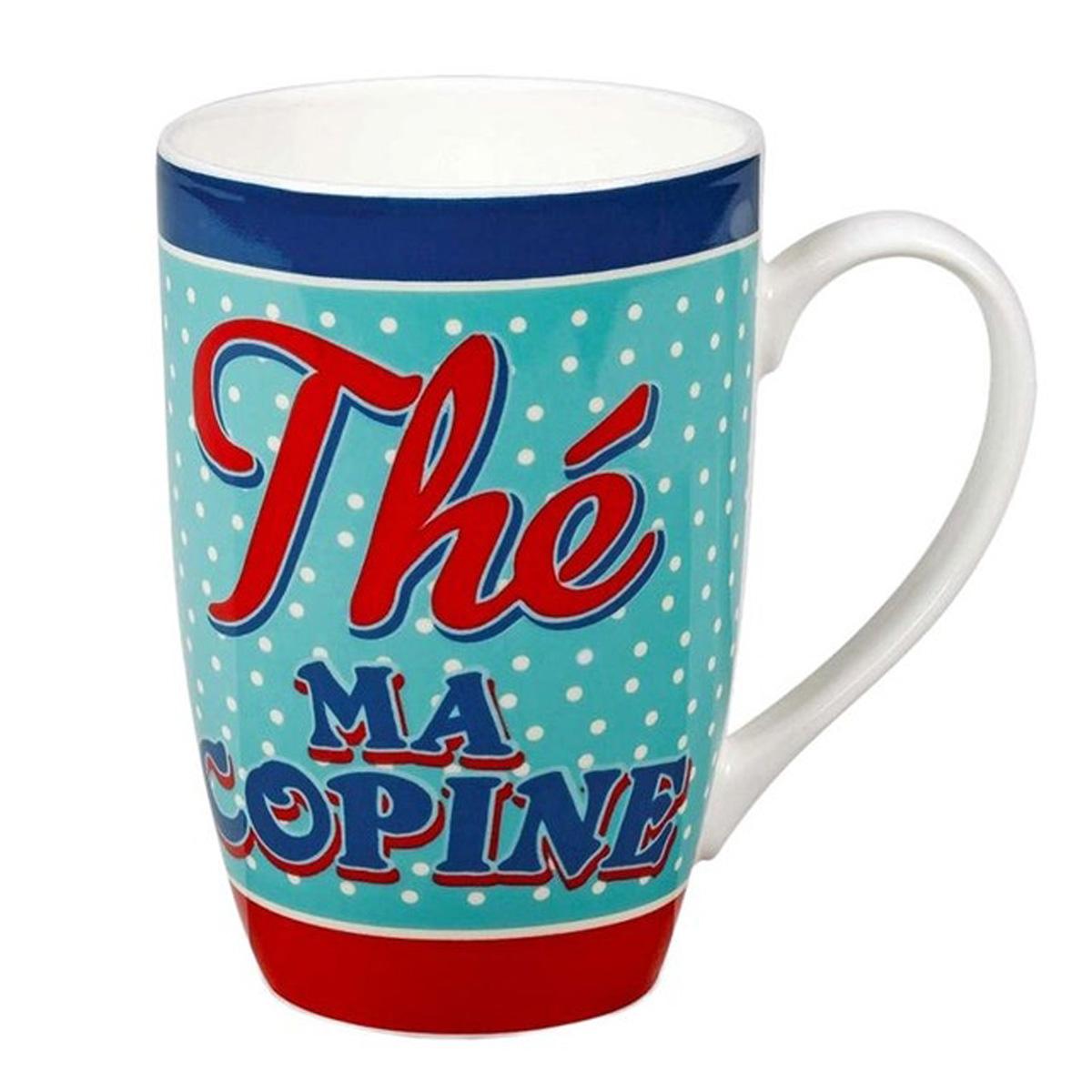 Grand mug porcelaine \'French Vintage\' (Thé ma Copine) - 13x85 cm (46cl) - [Q6975]