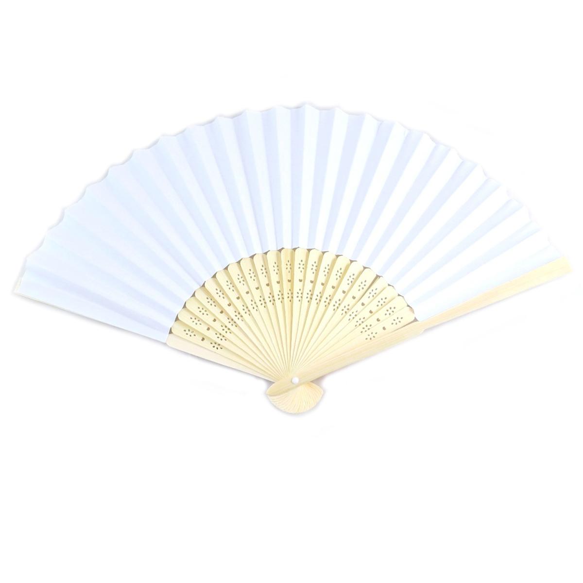 Eventail \'Fuji\' blanc bois (mariage) - 21 cm - [Q7052]