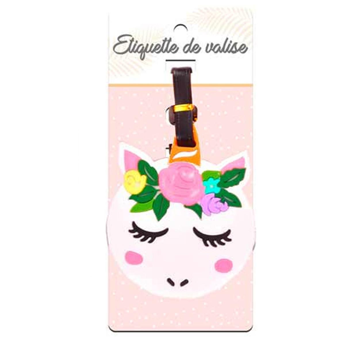 Porte-étiquettes de bagage \'Licorne My Unicorn\' rose blanc  - [Q7090]