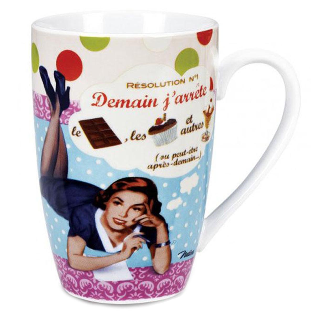 Grand mug porcelaine \'French Vintage\' (Résolution n°1 : demain j\'arrête ! ) - 13x85 cm (46 cl) - [Q7148]