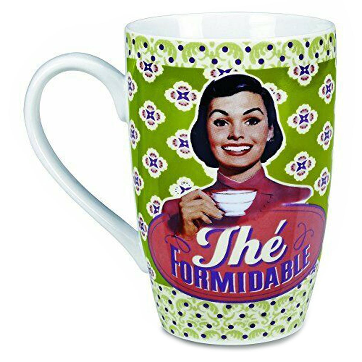 Grand mug porcelaine \'French Vintage\' (Thé Formidable) - 13x85 cm (46cl) - [Q7149]
