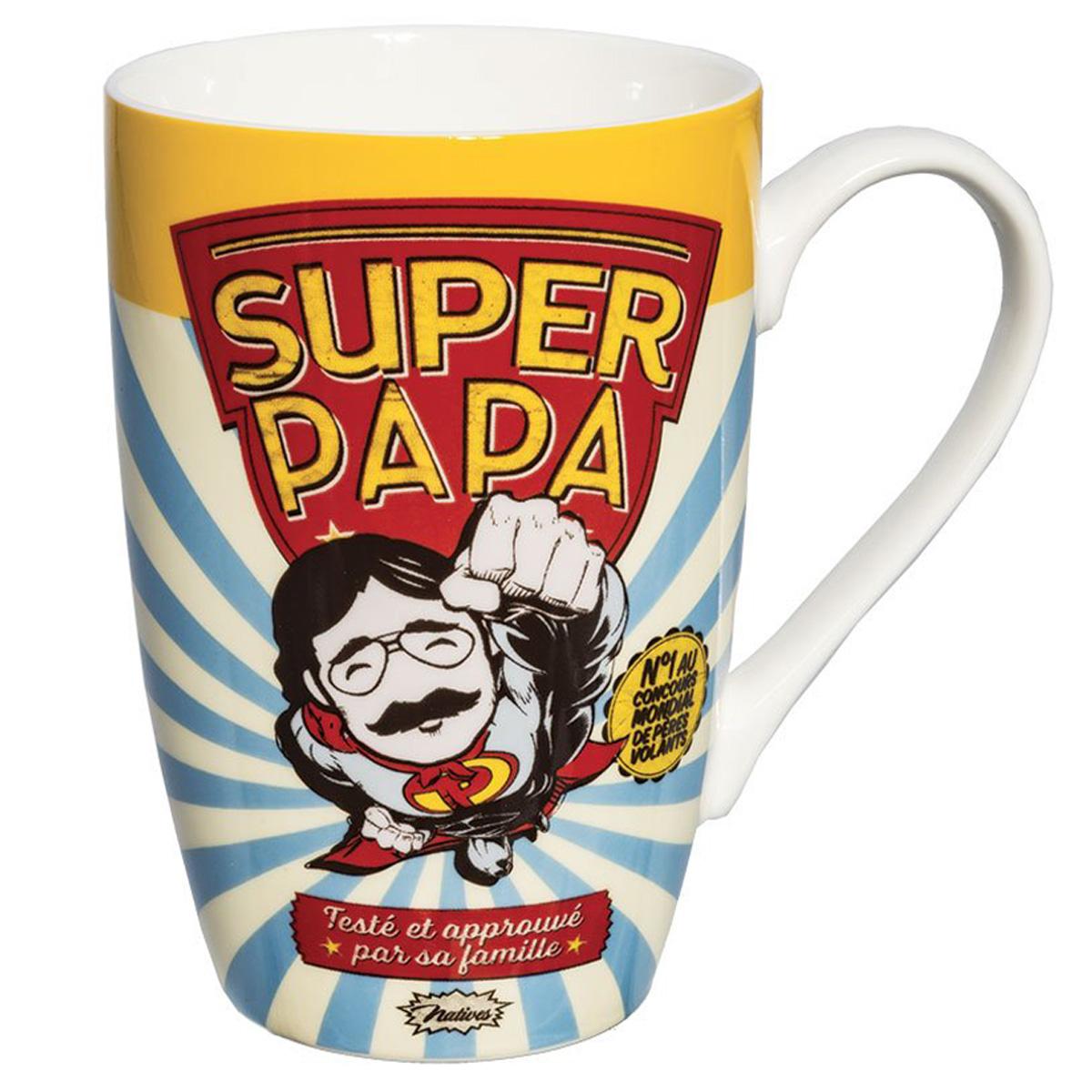 Grand mug porcelaine \'French Vintage\' (Super Papa) - 13x85 cm (46cl) - [Q7150]