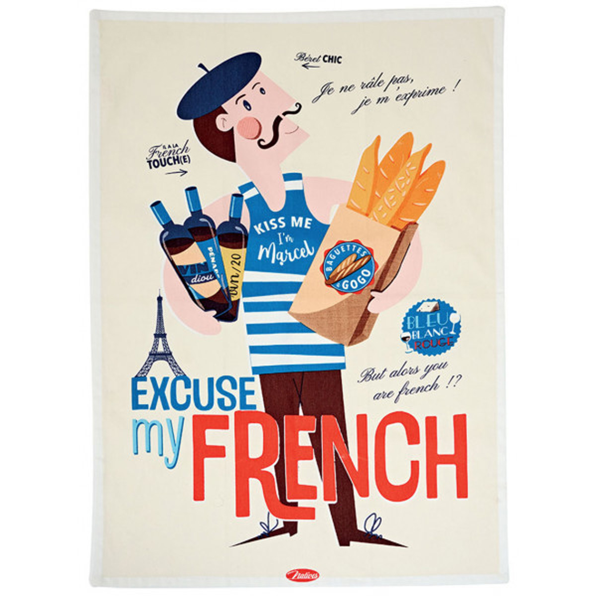 Torchon coton \'French Vintage\' (Excuse my French) - 70x50 cm - [Q7155]