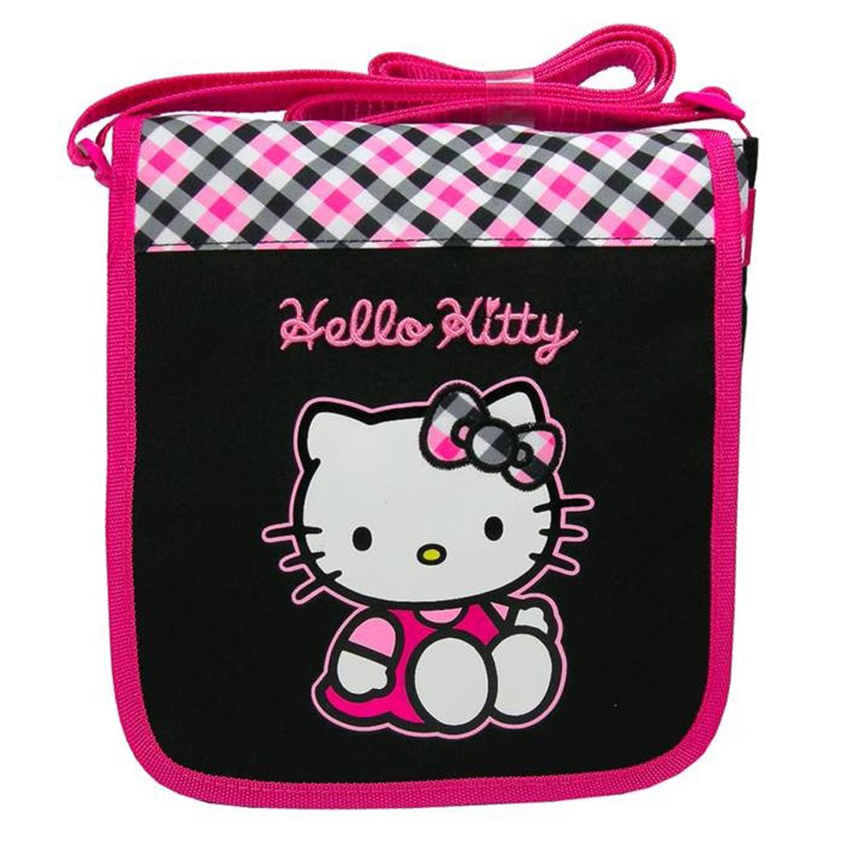 Sac \'Hello Kitty\' noir rose - 22x21x5 cm - [Q7159]