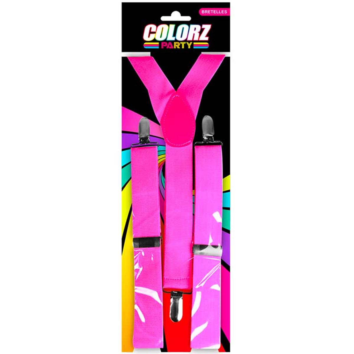Bretelles \'Coloriage\' rose fluo - 25 cm - [Q7168]