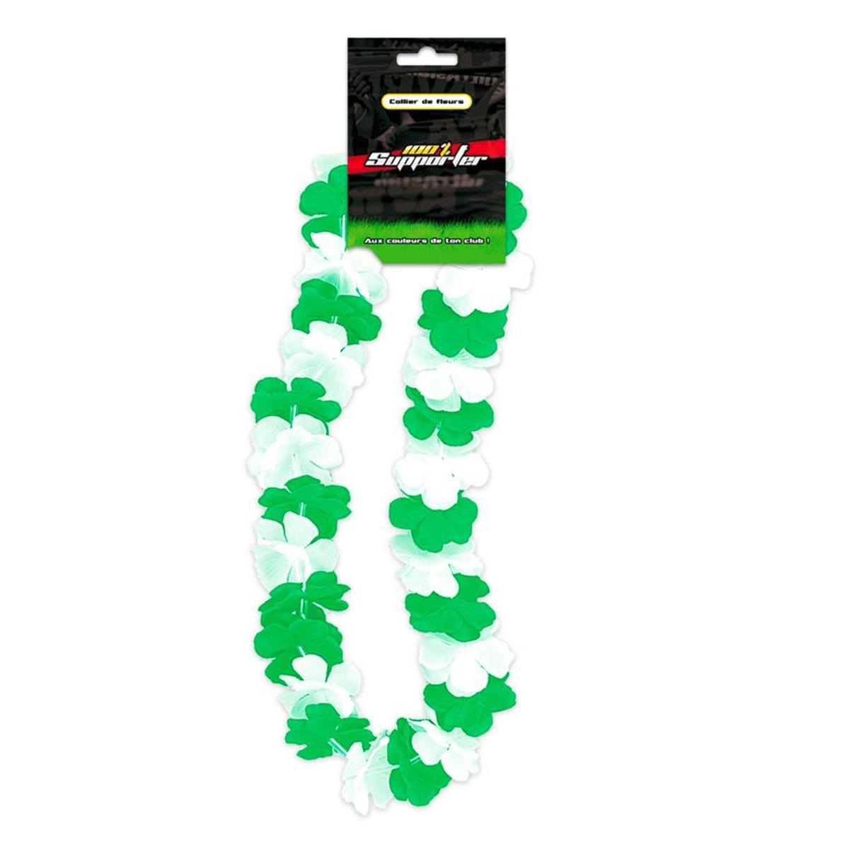 Collier de fleurs \'Coloriage\' vert blanc (supporter) - 50 cm - [Q7173]