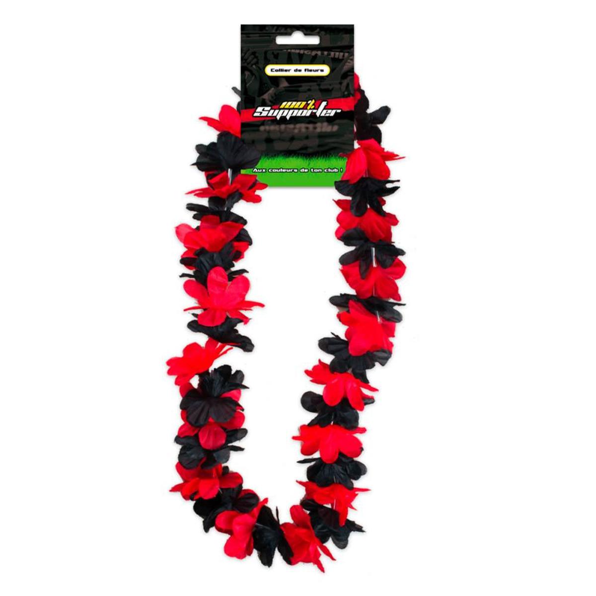 Collier de fleurs \'Coloriage\' rouge noir (supporter) - 50 cm - [Q7174]