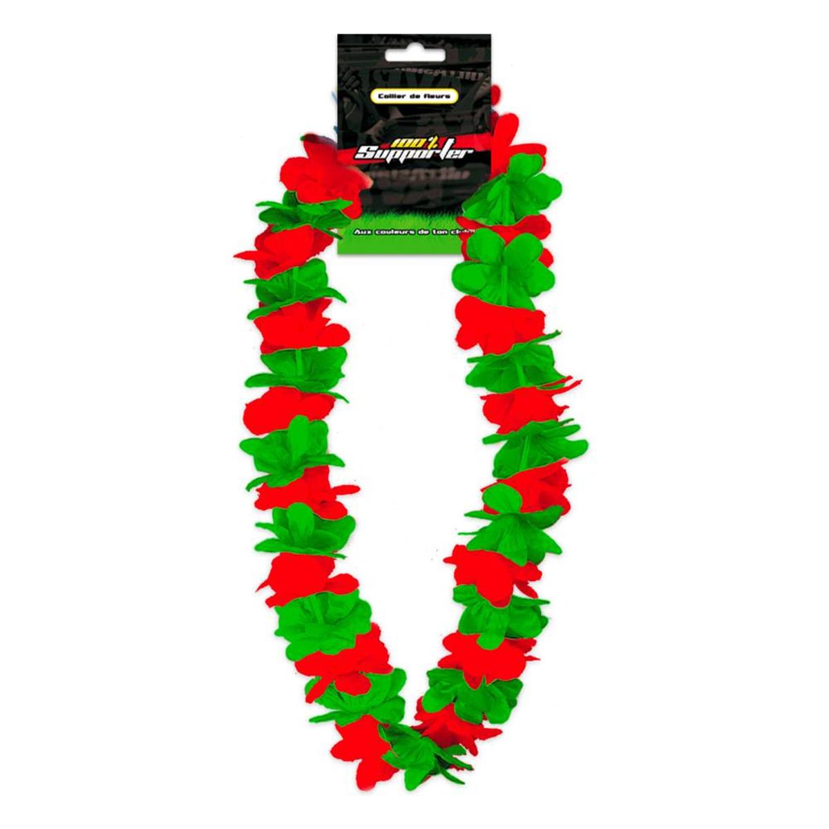 Collier de fleurs \'Coloriage\' vert  rouge (supporter) - 50 cm - [Q7176]