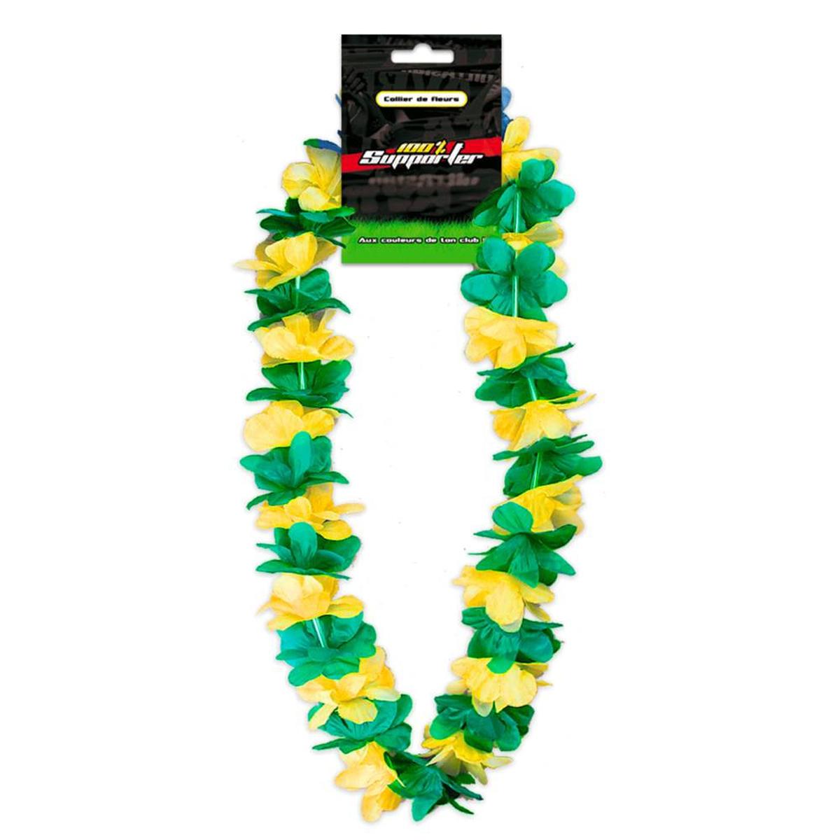 Collier de fleurs \'Coloriage\' vert jaune (supporter) - 50 cm - [Q7178]