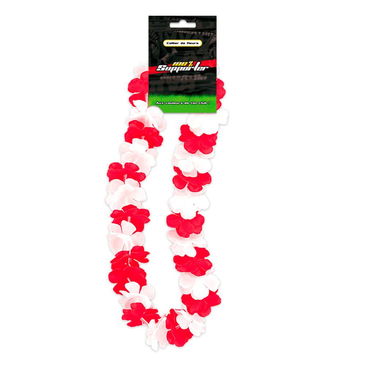 Collier de fleurs \'Coloriage\' rouge blanc (supporter) - 50 cm - [Q7179]