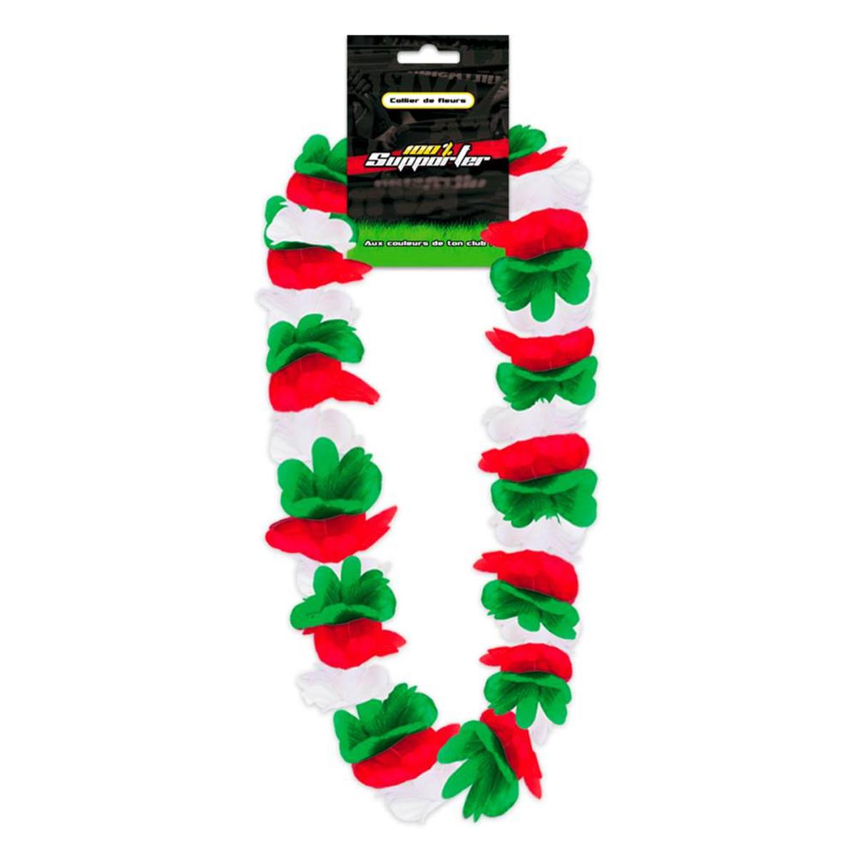 Collier de fleurs \'Coloriage\' vert rouge blanc (supporter) - 50 cm - [Q7180]