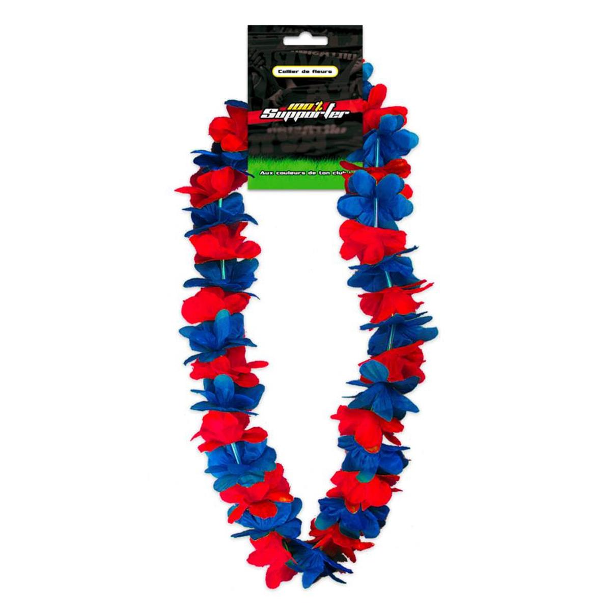 Collier de fleurs \'Coloriage\' bleu rouge (supporter) - 50 cm - [Q7181]