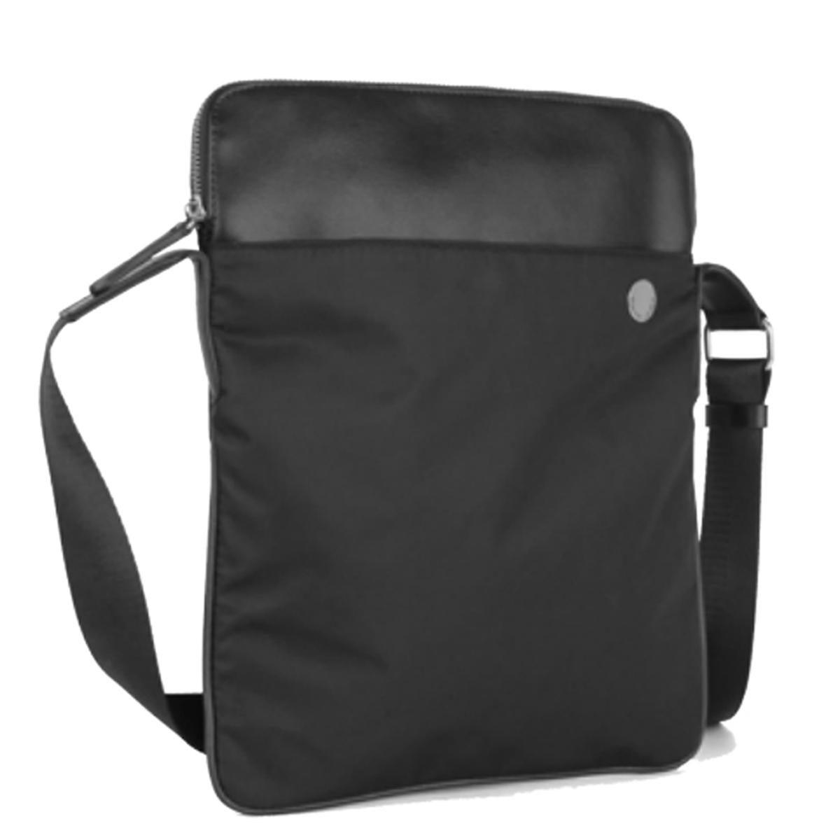 Grand sac porté-croisé \'Pierre Cardin\' noir (ultra plat) - 335x28x3 cm - [Q7183]